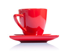 Red Coffee Cup On Saucer Isola...