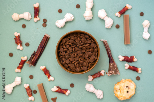 Fotografie, Obraz Dog delicacy food and feed in bowl on green background