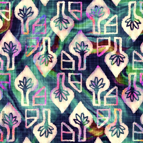 Fotografía Blurry rainbow glitch artistic foliage texture background