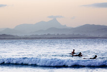 Mount Warning And Surfers In T...