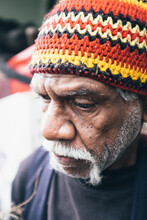 Close Up Of Aboriginal Elder With A Grey Beard