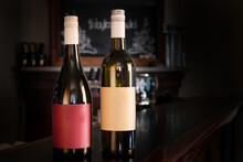 Bottle Of Red And White Wine With Blank Labels