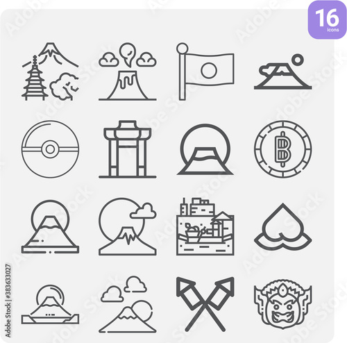 Simple set of asian nation related lineal icons. Wallpaper Mural