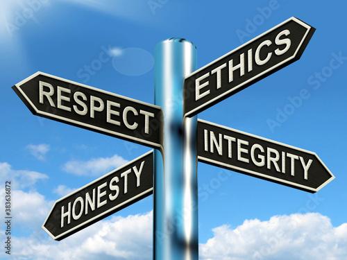 Respect Ethics Honest Integrity Signpost Means Good Qualities Wallpaper Mural