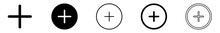 Add Plus Icon Black | Addition Buttons | Positive Symbol | Additional Logo | Cross Icons Sign | Isolated | Variations