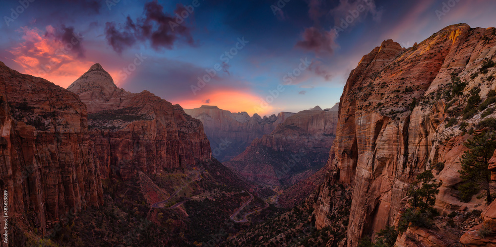 Fototapeta Beautiful aerial panoramic landscape view of a Canyon. Dramatic Colorful Summer Sunset Artistic Render. Taken in Zion National Park, Utah, United States.