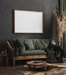 canvas print picture Mock up poster frame in dark green living room interior, ethnic style, 3d render