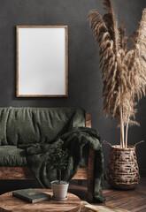 Fototapeta Berlin Mock up poster frame in dark green living room interior, ethnic style, 3d render