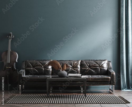 Home interior mock-up with leather sofa, table and cello near wall, 3d render Fotobehang
