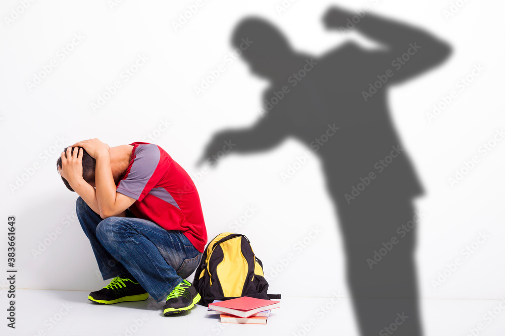 Obraz  Man shadow attack   to terrified student with a fist  fototapeta, plakat