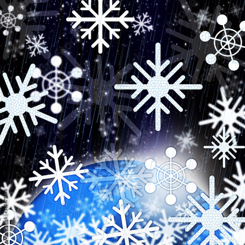 Snowflakes Background Shows Snowing From Sky And Cold,