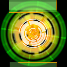 Green Disc Background Shows LP Circles And Rectangles,