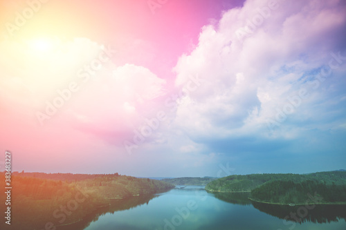 View of the Vltava River at sunset Canvas Print