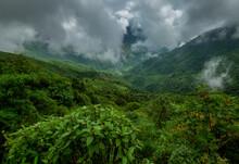 Play Of Clouds In Green Valley Seen Near Cherrapunji , Meghalaya, India, Asia