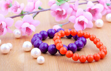 Multi Color Coral Bangles And Artificial Pearls, With Pink Flowe