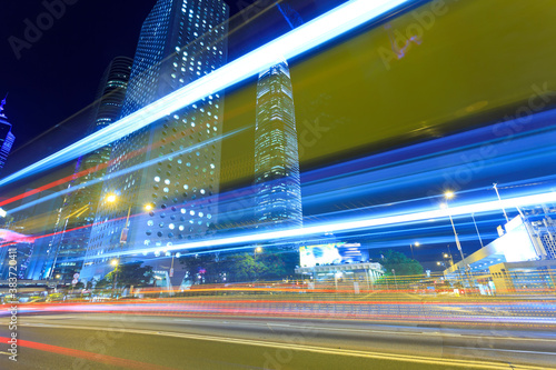 Fototapety, obrazy: Traffic with blur light through city at night
