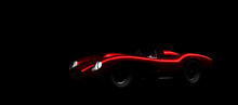 Silhouette Of Red Vintage Sports Car