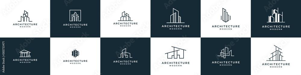 Fototapeta Set of logo architecture with liner concept logo design real estate template