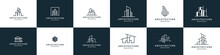 Set Of Logo Architecture With Liner Concept Logo Design Real Estate Template