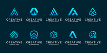Set Creative Collection Letter A Logo Design Template. Icon For Technology, Internet, Digital.
