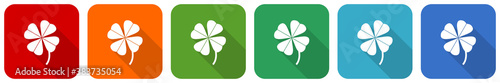 Obraz Four-leaf clover icon set, flat design vector illustration in 6 colors options for webdesign and mobile applications - fototapety do salonu