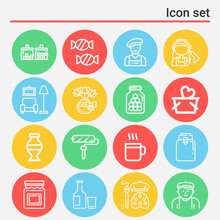 16 Pack Of Vase  Lineal Web Icons Set