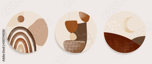 Fototapeta Mountain wall art vector set. Earth tones landscapes backgrounds set with moon and sun.  Abstract Plant Art design for print, cover, wallpaper, Minimal and  natural wall art. Vector illustration.. obraz