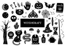 Set Of Isolated Magic Design Elements.Witchcraft Symbols