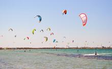 Kitesurfing. Lots Of Parachut...