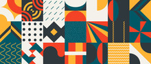 Abstract Vector Pattern Graphics With Simple Geometric Shapes