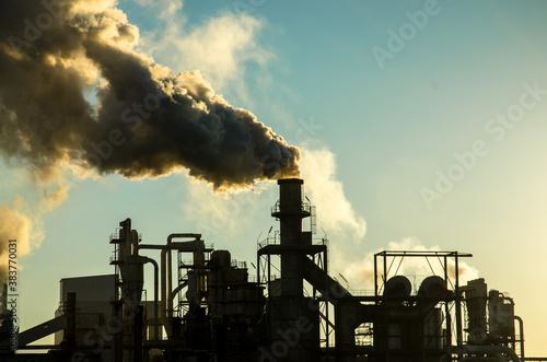 Cuadros en Lienzo Smoking chimney  at sunset