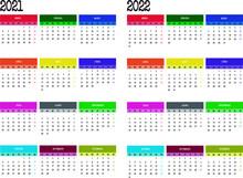 Calendario 2021 Y 2022 En Español