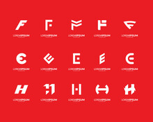 Letter F, E And H Logo Collection. Modern Design. Vector Ilusstration