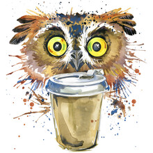 Cute Owl. Watercolor Illustrat...