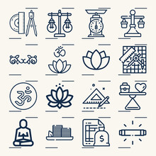 Simple Set Of Zen Related Lineal Icons.