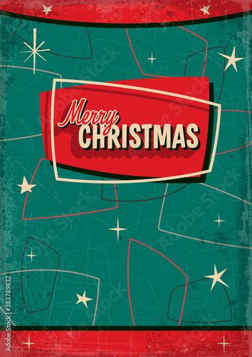 Fototapeta Mid Century Modern Style Christmas Greeting Card, 1950s Noel Holiday Postcard, Background, Poster  obraz
