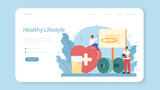 Healthy lifestyle class web banner or landing page. Idea of medicine