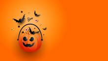 Halloween Jack O Lantern Bucket Overflowing With Candy, Bats, Spider On Orange Background With Copy Space