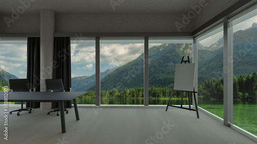 Canvas Stylish office room with blurred mountains nature view in windows, photorealistic 3D Illustration of the interior, suitable for using in  video conference and as a zoom background