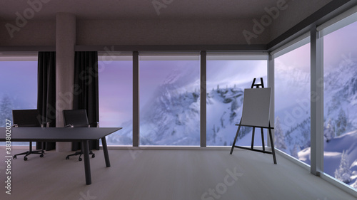 Canvas Stylish office room with blurred winter mountains view in windows, photorealistic 3D Illustration of the interior, suitable for using in  video conference and as a zoom background