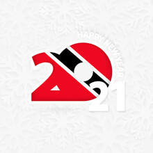 Happy New Year 2021 For Trinidad And Tobago On Snowflake Background.