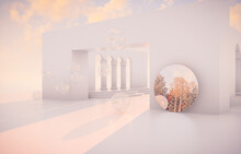Abstract Autumn Scene With Geometrical Forms, Arch With A Podium In Natural Day Light. 3D Render Background.
