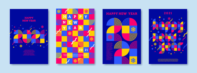 Bright color greeting card set with 2021 new year logo. Greeting design with multicolored number of year. Design for greeting card, invitation, cover,poster, calendar, etc.