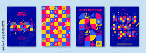 Obraz Bright color greeting card set with 2021 new year logo. Greeting design with multicolored number of year. Design for greeting card, invitation, cover,poster, calendar, etc. - fototapety do salonu