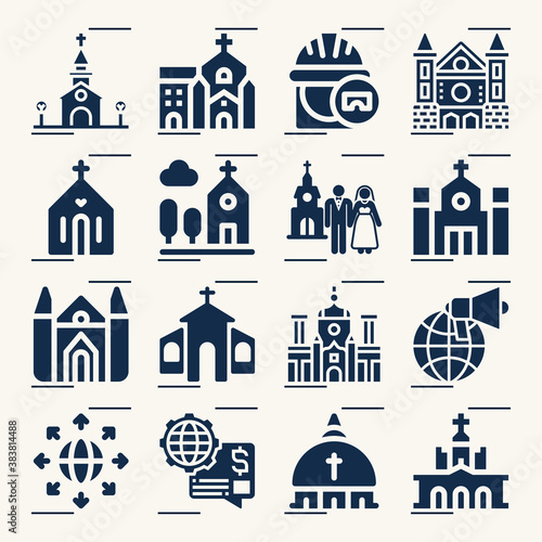 Simple set of parish related filled icons. Canvas Print
