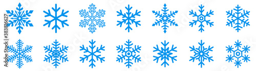 Fototapeta Snowflake icons set. Snowflake symbols. Snow icon. Vector illustrator obraz