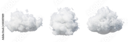 3d render. Assorted shapes of abstract white clouds. Cumulus different views clip art isolated on white background.