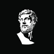 Ancient Greek Philosopher Portrait. Vector Illustration.