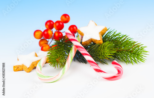 Christmas Decoration with Candy Canes, on a fake snow background