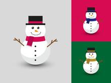 Cute Happy Snowman In Flat Vector Style.